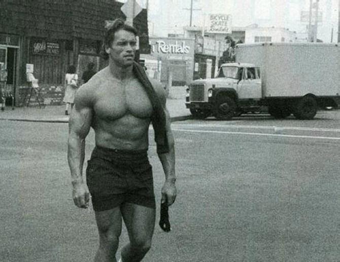 Арнольд Шварценеггер после тренировки