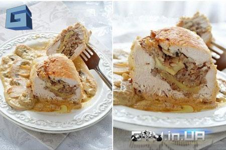 Рецепт: куриные грудки с гречкой и шампиньонами