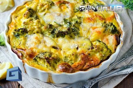 Рецепты: Запеканка с куриным филе и брокколи