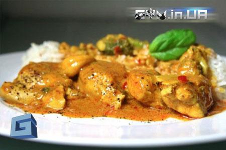 Рецепт: Куриное филе или бёдра в сливочно-грибном соусе